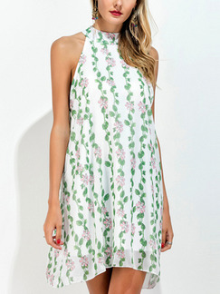 White and Green Halter Shift Above Knee Plus Size Floral Dress for Casual Party