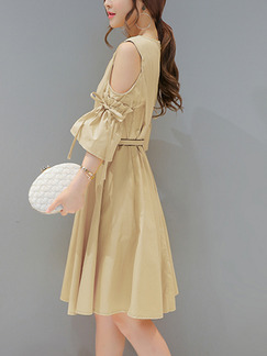 Beige Shift Above Knee Plus Size Dress for Casual Office Party Evening