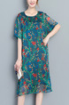 Blue Green Colorful Shift Knee Length Plus Size Dress for Casual Party