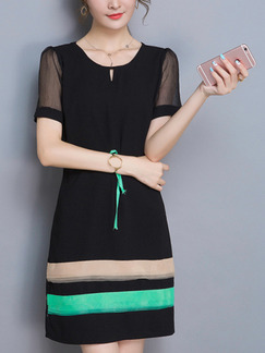 Black and Green Shift Above Knee Plus Size Dress for Casual Office Evening Party