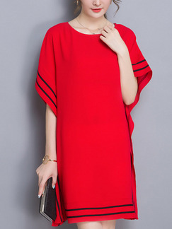 Red Shift Above Knee Plus Size Dress for Casual Party Office Evening