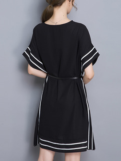 Black Shift Above Knee Plus Size Dress for Casual Office Evening Party