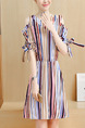 Colorful Stripe Fit & Flare Above Knee Plus Size V Neck Dress for Casual Office Evening