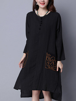 Black Shift Knee Length Plus Size Long Sleeve Dress for Casual
