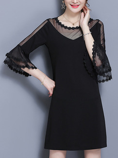 Black Shift Above Knee Plus Size Lace Dress for Casual Office Evening