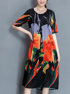 Colorful Shift Knee Length Plus Size Dress for Casual Party