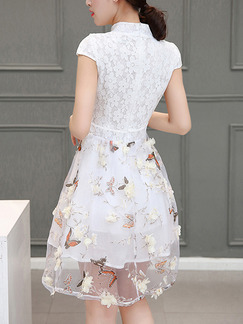 White Fit & Flare Above Knee Plus Size Lace Floral Dress for Casual Party Evening