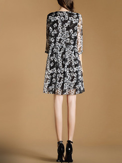 Black and White Shift Above Knee Plus Size Floral Dress for Casual Office Evening Party