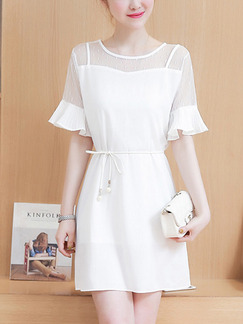 White Shift Above Knee Plus Size Dress for Casual Office Evening