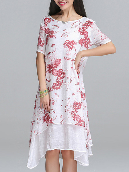 White and Red Shift Midi Plus Size Dress for Casual Party