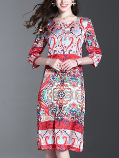 Red Colorful Shift Knee Length Plus Size Dress for Casual Office Evening Party