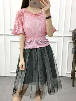 Pink and Grey Two Piece Knee Length Dress for Casual Party Office