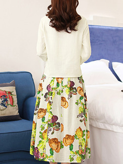 White Colorful Two Piece Midi Plus Size Dress for Casual Party Office