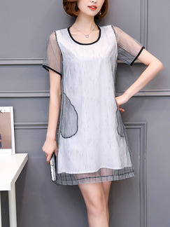 Grey and White Shift Above Knee Plus Size Dress for Casual Party Evening