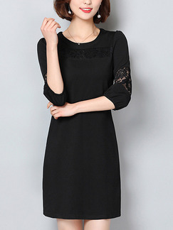 Black Knitted Linking Loose Plus Size Lace Sheath Above Knee Dress for Casual Party Office Evening