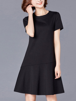 Black Shift Above Knee Plus Size Dress for Casual Party Office