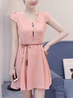 Pink Shift Above Knee Plus Size V Neck Cute Dress for Casual Party Evening