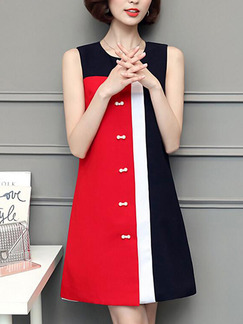 Red White and Black Shift Above Knee Plus Size Dress for Casual Office Evening Party