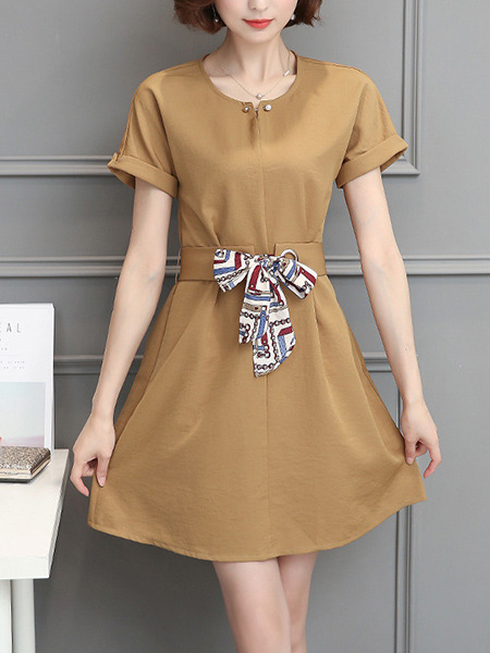 Brown Shift Above Knee Plus Size Dress for Casual Office Party Evening