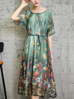 Green Colorful Shift Midi Plus Size Floral Dress for Casual