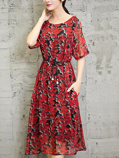 Red and Black Shift Midi Plus Size Floral Dress for Casual