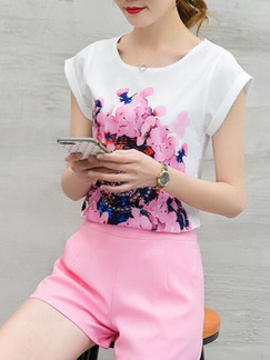 Pink and White Two Piece Above Knee Plus Size Floral Cute Dress for Casual Party Nightclub