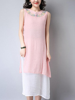Pink and White Shift Midi Plus Size Cute Dress for Casual