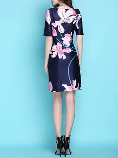 Blue and Pink Sheath Above Knee Plus Size Floral Dress for Casual Office Evening