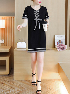 Black Knitted Contrast Band Belt Loose Plus Size Shift Above Knee Dress for Casual