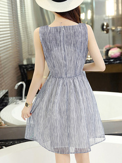Blue and White Stripe Fit & Flare Above Knee Dress for Casual Party Evening