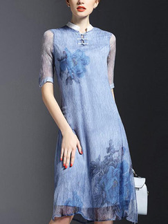 Blue Shift Knee Length Plus Size Shirt Dress for Casual Party Evening
