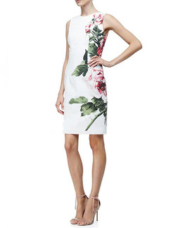 White Colorful Sheath Above Knee Plus Size Floral Dress for Casual Evening Office