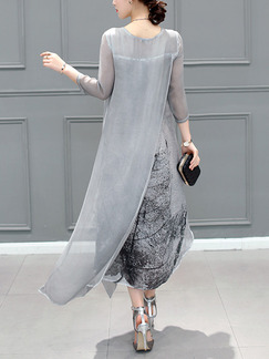 Grey Shift Midi Plus Size Dress for Casual Office Evening