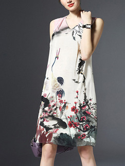 Colorful Shift Above Knee Plus Size Floral V Neck Dress for Casual Party Office Evening