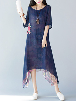 Blue Shift Midi Plus Size Dress for Casual
