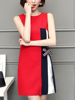 Red Blue and White Shift Above Knee Plus Size Dress for Casual Evening Office