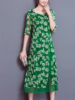 Green Shift Midi Plus Size Floral Dress for Casual