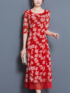 Red Shift Midi Plus Size Floral Dress for Casual