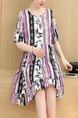 Colorful Shift Above Knee Plus Size Dress for Casual Party Office