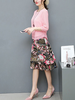 Pink Colorful Two Piece Knee Length Plus Size Cute Dress for Casual Office Party Evening