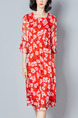 Red Shift Knee Length Plus Size Floral Dress for Casual