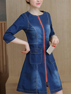 Blue Shift Above Knee Plus Size Denim Dress for Casual Office Party Evening