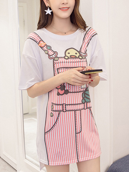 White and Pink Shift Above Knee Plus Size Cute Dress for Casual Party