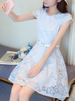 Blue Fit & Flare Above Knee Plus Size Lace Dress for Casual Party