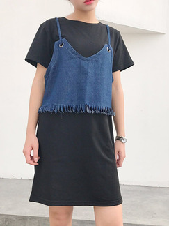 Black and Blue Two Piece Shift Above Knee Denim Dress for Casual Party