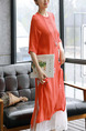 Orange and White Shift Midi Plus Size Dress for Casual