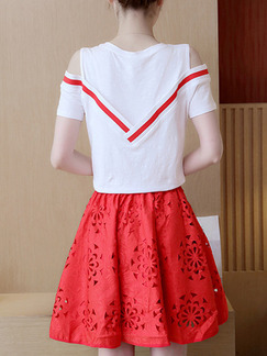 Red and White Two Piece Above Knee Plus Size Dress for Casual Party Evening