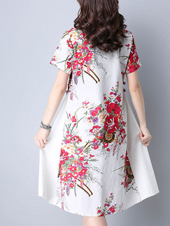 White and Red Shift Knee Length Plus Size Dress for Casual Office Party