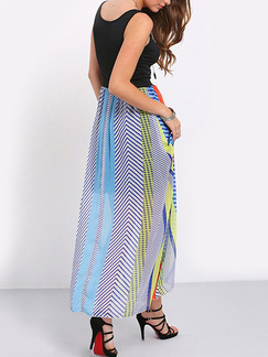 Black Colorful Stripe Shift Maxi Plus Size Dress for Casual Beach