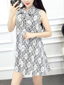 White and Black Shift Above Knee Lace Shirt Dress for Casual Party